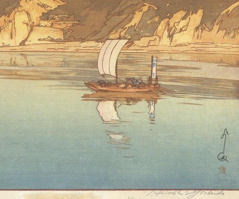 Hiroshi Yoshida, Japanese Woodblock Print, Sailing Boat, Sea Landscape, Ocean For Sale 2
