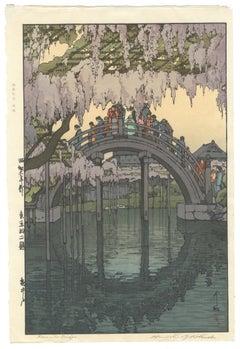 Hiroshi Yoshida, Original Japanese Woodblock Print, Shin Hanga, Bridge, Wisteria