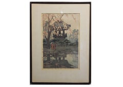 """In a Temple Yard"" Japanese Woodblock Print"