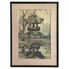 Hiroshi Yoshida Sealed Framed Japanese Color Woodblock Print in a Temple Yard