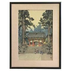 Hiroshi Yoshida Sealed Framed Japanese Color Woodblock Print Toshogu Shrine