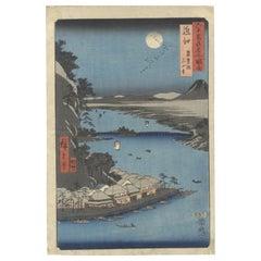 Hiroshige I, Sixty Odd Provinces, Ishiyama Temple, Original Woodblock Print, Edo