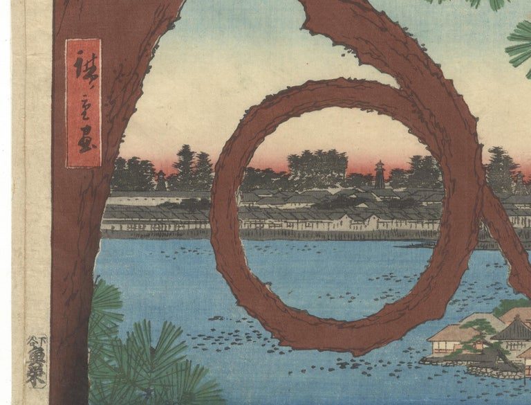 Hand-Crafted Hiroshige, Ueno Park, Moon Pine, Famous Views of Edo, Landscape, Japanese Art For Sale