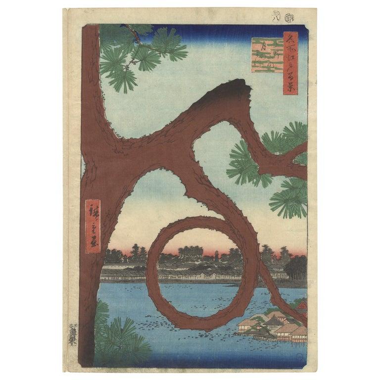 Hiroshige, Ueno Park, Moon Pine, Famous Views of Edo, Landscape, Japanese Art For Sale