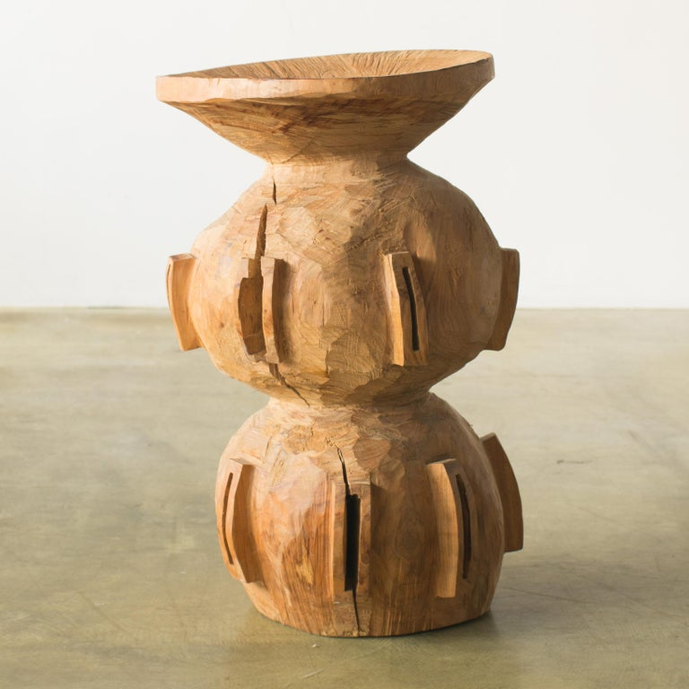 Name: Spaceship mam Sculptural stool by Hiroyuki Nishimura and zone carved furniture Material: Machilus This work is carved from log with some kinds of chainsaws. Most of wood used for Nishimura's works are unable to use anything, these woods