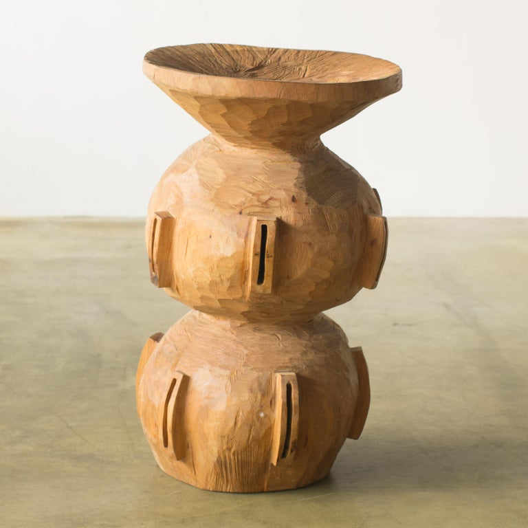 Hand-Carved Hiroyuki Nishimura and Zogei Furniture Sculptural Stool15 Tribal Glamping For Sale