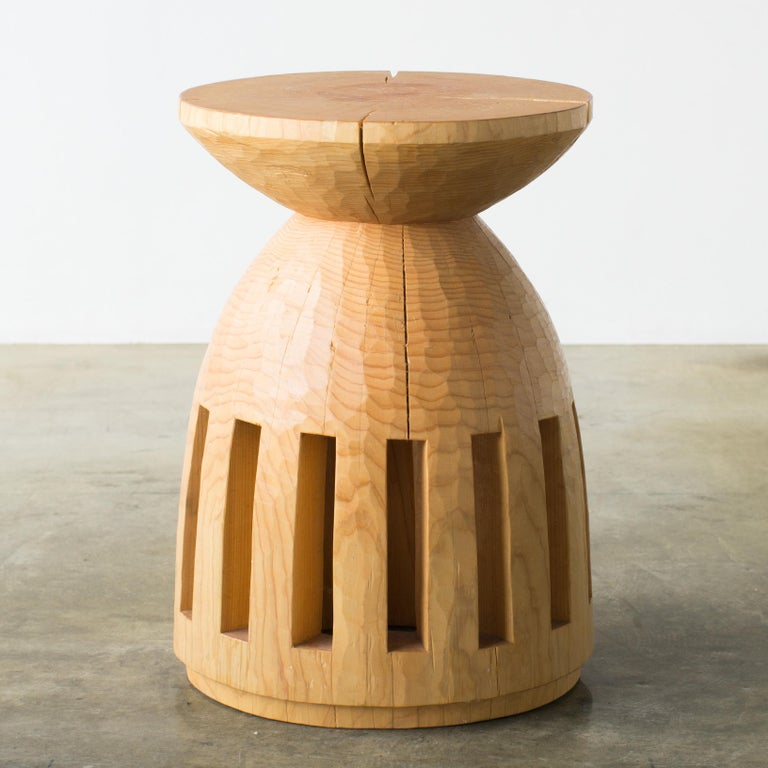 Name: A day for going to the ocean Sculptural stool by Hiroyuki Nishimura and zone carved furniture Material: Cypress This work is carved from log with some kinds of chainsaws. Most of wood used for Nishimura's works are unable to use anything,