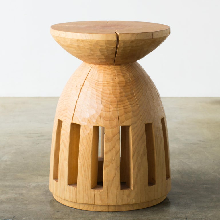 Hand-Carved Hiroyuki Nishimura and Zogei Furniture Sculptural Stool 3 Tribal Glamping For Sale