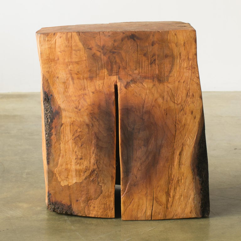 Name: Late afternoon in winter Sculptural stool by Hiroyuki Nishimura and zone carved furniture Material: Cherry This work is carved from log with some kinds of chainsaws. Most of wood used for Nishimura's works are unable to use anything, these