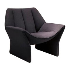 Hirundo Armchair in Charcoal Fabric with Curved Seat by Busnelli