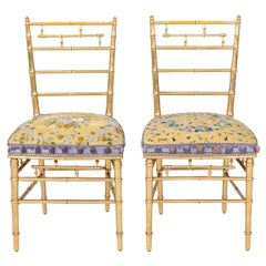 His and Her Pair of Antique French Faux Bamboo Giltwood Opera Chairs