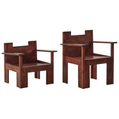 His and Hers Brutalist Wooden Chairs, circa 1970s