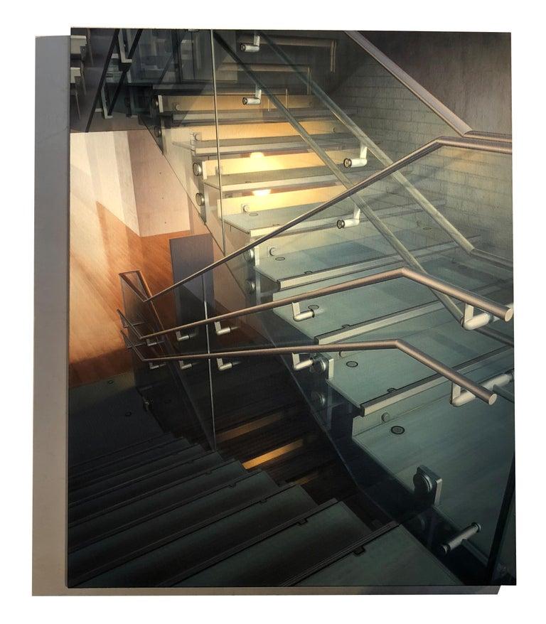 Stairway #10 - Library - Painting by Hisaya Taira