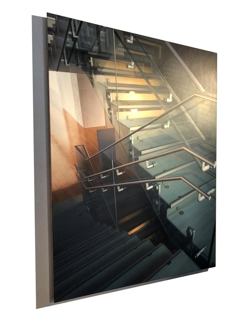Stairway #10 - Library - Photorealist Painting by Hisaya Taira
