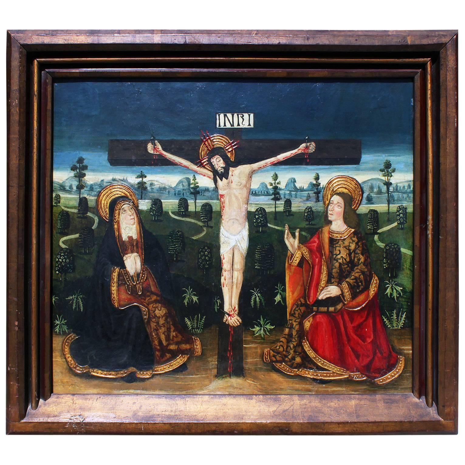 """Hispano-Portuguese 19th Century Oil Painting on Board, Icon """"The Crucifixion"""""""