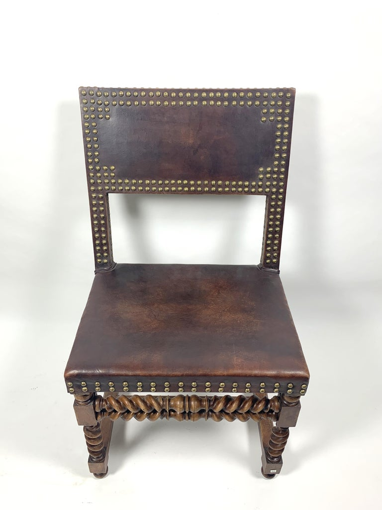 European Historic Arts & Crafts Leather Chair, 1970s For Sale