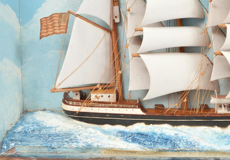 Folk Art Historic Diorama Featuring the Four Masted Barque 'William P. Frye' at Full Sail