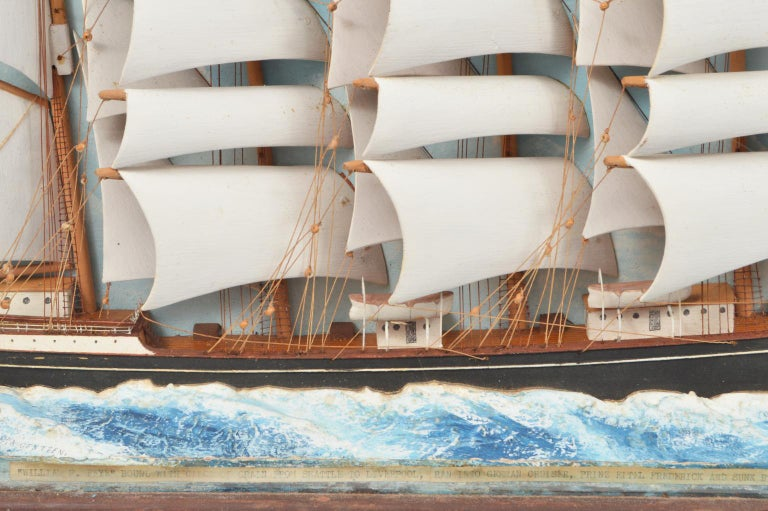 American Historic Diorama Featuring the Four Masted Barque 'William P. Frye' at Full Sail