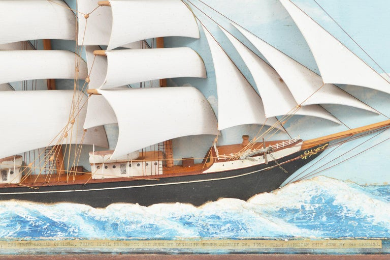 Historic Diorama Featuring the Four Masted Barque 'William P. Frye' at Full Sail In Good Condition In Ft. Lauderdale, FL