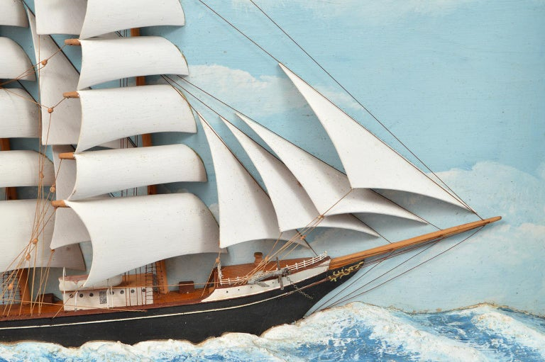 20th Century Historic Diorama Featuring the Four Masted Barque 'William P. Frye' at Full Sail