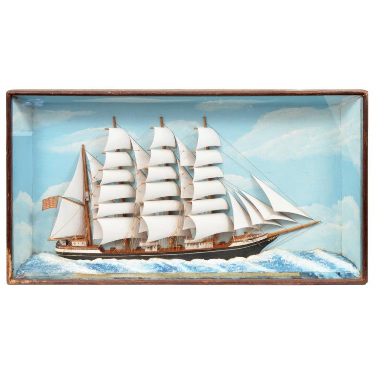 Historic Diorama Featuring the Four Masted Barque 'William P. Frye' at Full Sail