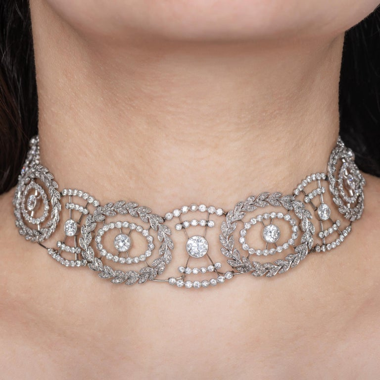Historic Edwardian Prussian Royal Jeweler Diamond Platinum Convertible Tiara For Sale 7