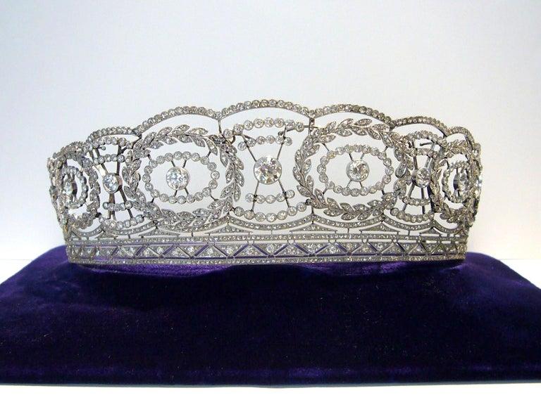 Historic Edwardian Prussian Royal Jeweler Diamond Platinum Convertible Tiara For Sale 8
