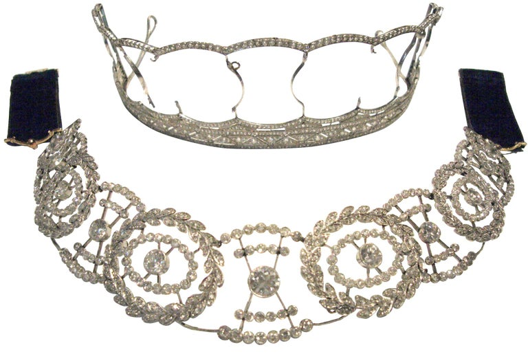 A rare and important Edwardian diamond platinum tiara convertible to a choker or brooch, in the original fitted case with all components present. Made by the Imperial German Court Jeweler Friedlander Berlin circa 1905, who supplied many European