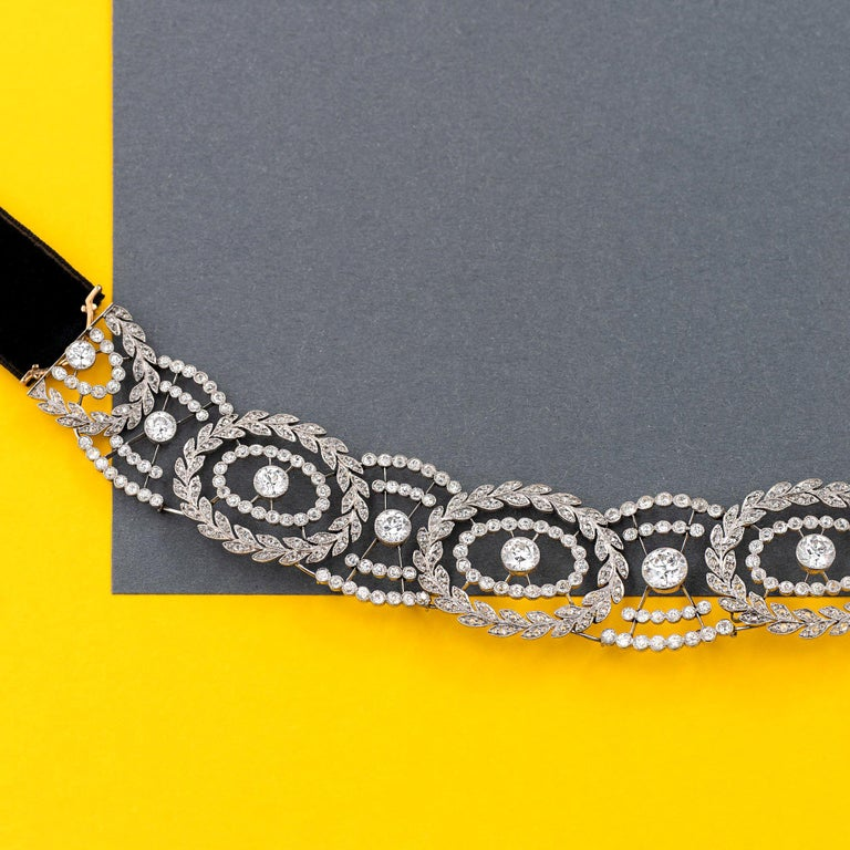 Old European Cut Historic Edwardian Prussian Royal Jeweler Diamond Platinum Convertible Tiara For Sale