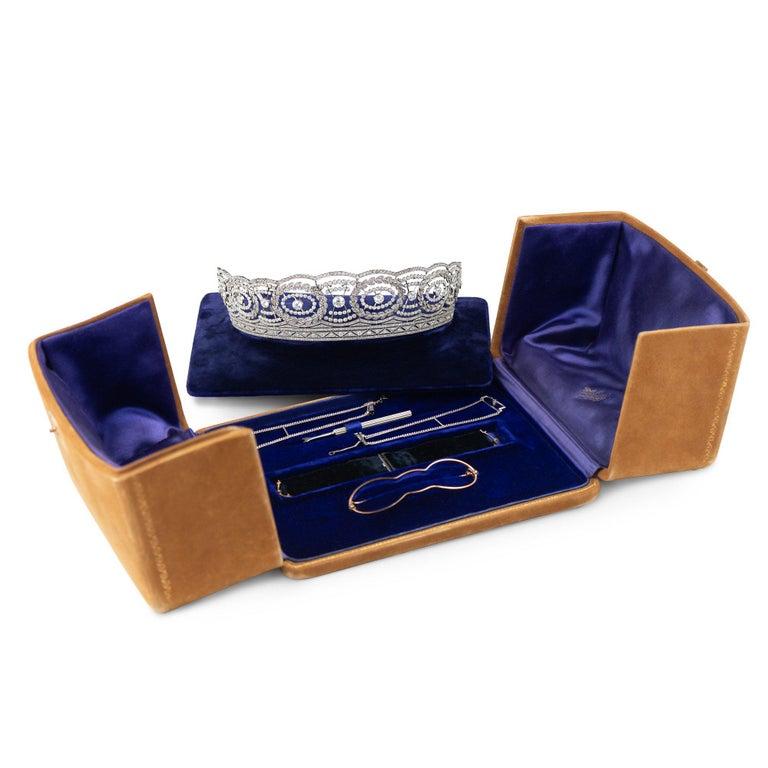 Historic Edwardian Prussian Royal Jeweler Diamond Platinum Convertible Tiara For Sale 1