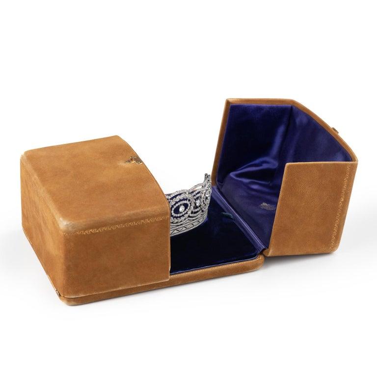 Historic Edwardian Prussian Royal Jeweler Diamond Platinum Convertible Tiara For Sale 4