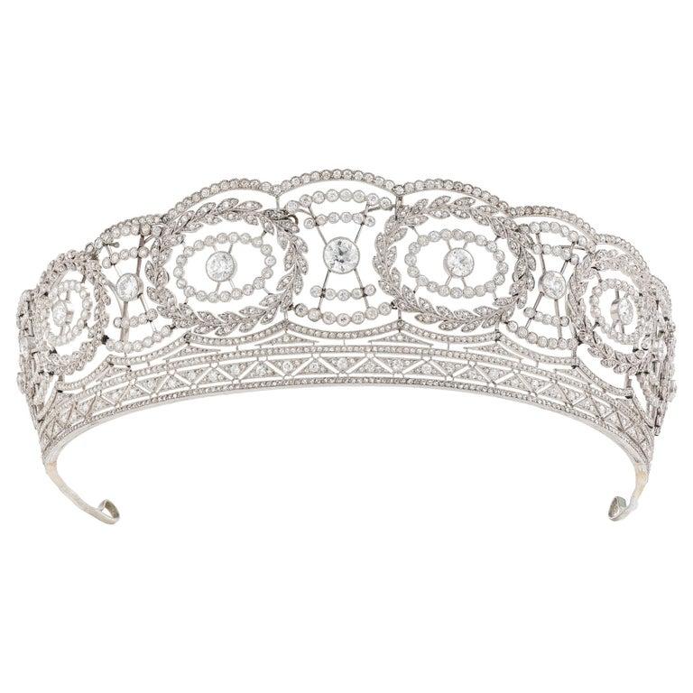 Historic Edwardian Prussian Royal Jeweler Diamond Platinum Convertible Tiara For Sale