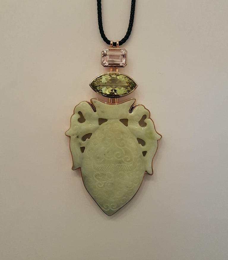 Modern Historic Jade, Beryl '29.87 Carat,' Kunzite, White Gold Bronze Pendant by Wagner For Sale