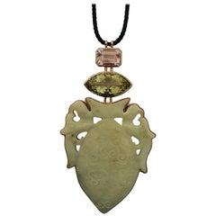 Historic Jade, Beryl '29.87cts.,' Kunzite, White Gold, Bronze Pendant by Wagner