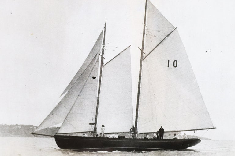 Historic black and white photograph of schooner Malabar X. Matted and framed.  Measures: 13 x 15 1/2.
