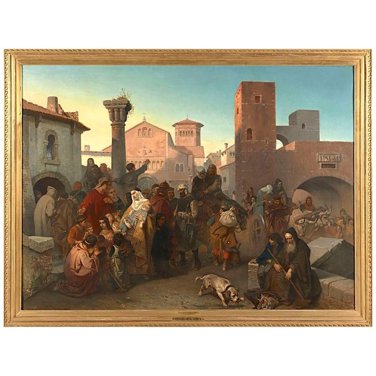 Historical Episode of Italy, Cesare Dell'acqua Oil on Canvans Italian Painting For Sale