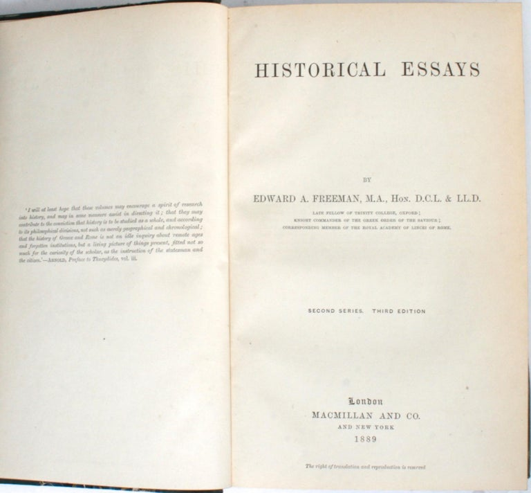 Historical Essays by Edward A. Freeman in Three Volumes For Sale 3