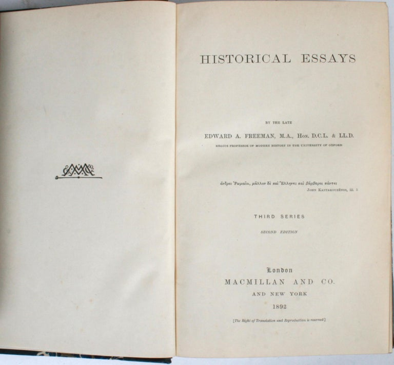Historical Essays by Edward A. Freeman in Three Volumes For Sale 6