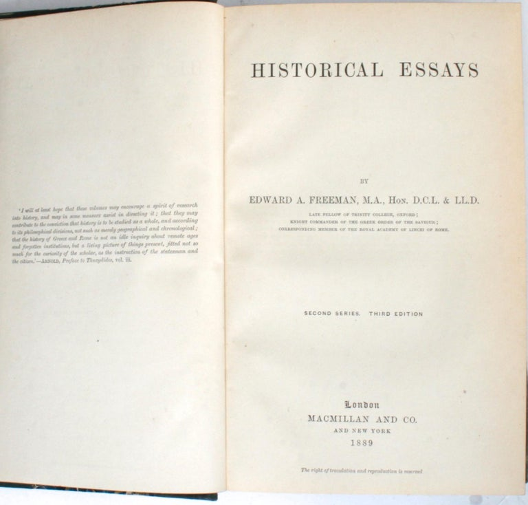 Historical Essays by Edward A. Freeman in Three Volumes In Good Condition For Sale In valatie, NY