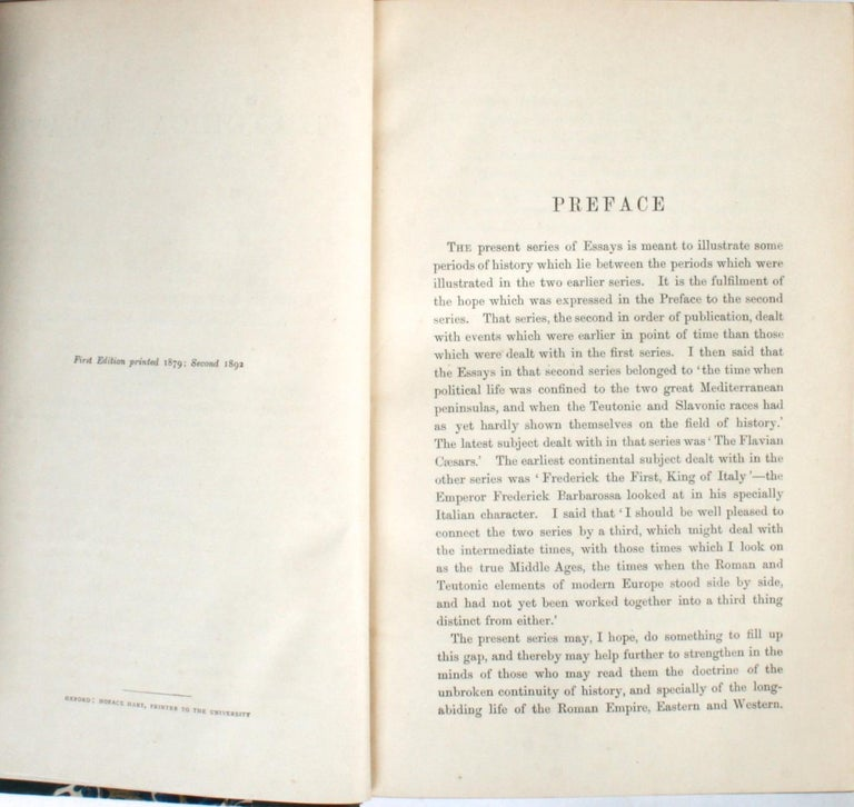 Leather Historical Essays by Edward A. Freeman in Three Volumes For Sale