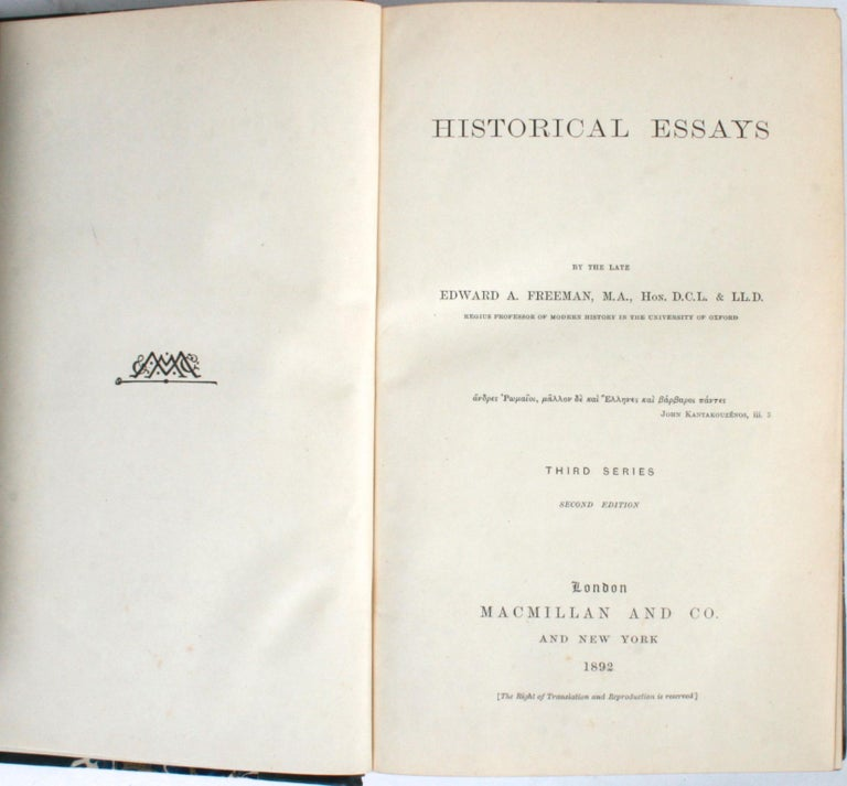 Historical Essays by Edward A. Freeman in Three Volumes For Sale 1
