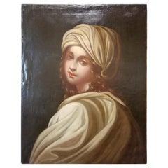Historical Portrait of Beatrice Cenci, Italian Painting, Mid-18th Century Oil