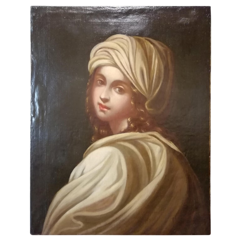 Historical Portrait of Beatrice Cenci, Italian Painting, Mid-18th Century Oil For Sale