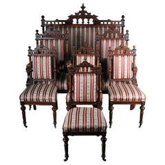 Historicism Salon Sofa, 2 Armchairs, 4 Chairs circa 1870, Walnut