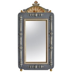 Historicism Wall Mirror in Polychrome and Gold Paint from the 19th Century