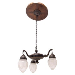 Historicizing Brass Three-Armed Chandelier, Turn of the 19th and 20th Century