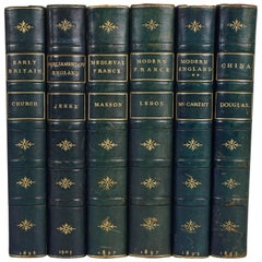 Histories of Britain, France and China Bound in Royal Blue Leather Bindings