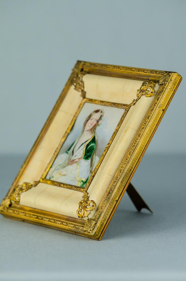 Neoclassical Historistic Bone Picture Frame, circa 1890s For Sale