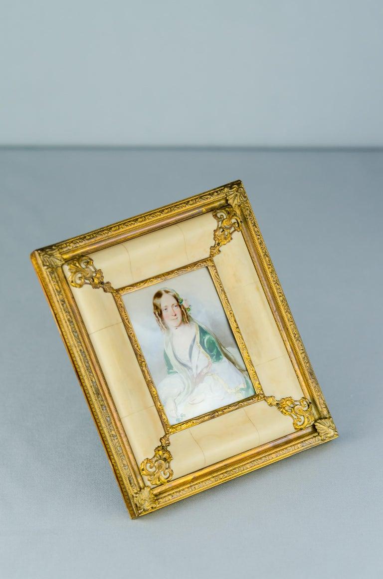 Brass Historistic Bone Picture Frame, circa 1890s For Sale