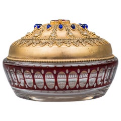Historistic Sugar Bowl with Gilded Cover and Cut Glass, circa 1890s